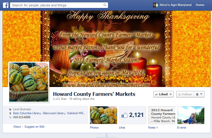 Managed Howard County Farmers' Market facebook page for the 2013 farmers' market season ... at one point there were 10,000 views within 1 week!